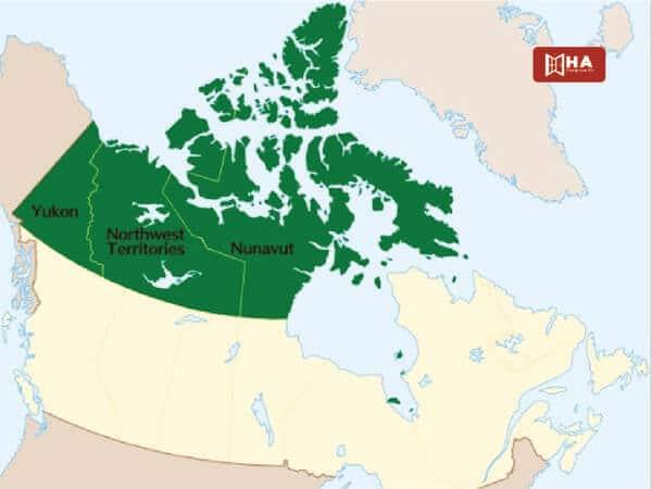 Nunavut, Yukon và Northwest Territories
