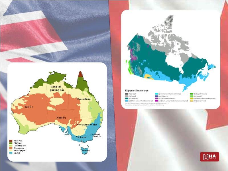 Khí hậu ở Úc và Canada khác nhau